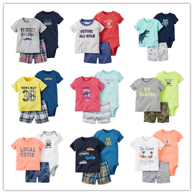 Estilo verão suor terno roupas de bebê menino, terno do esporte do bebê bodysuits menino + shorts da luva do bebê define 3 pcs roupas infantis menino