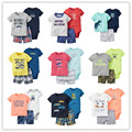 Summer style sweat suit baby boy clothes , sport suit baby boy bodysuits + shorts sleeve baby sets 3pcs roupas infantis menino