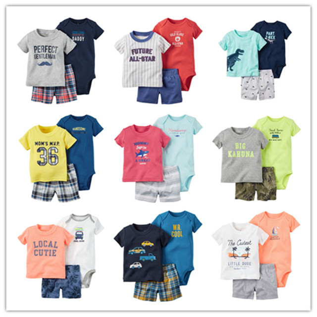 Summer style sweat suit baby boy clothes , sport suit baby boy bodysuits + shorts sleeve baby sets 3pcs roupas infantis menino