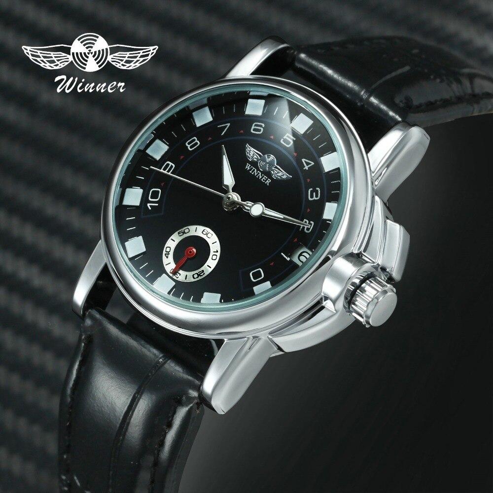 T-WINNER Women Dress Mechanical Wrist Watch Leather Band Black Dial Automatic-self-wind Watch Calender Date Unique Design Gift