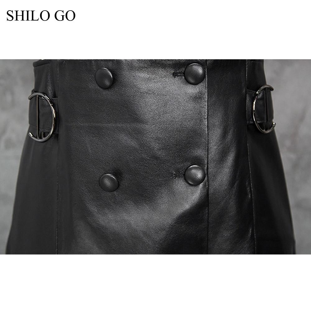 Shilo V Aller Femmes Printemps Robe Peau Breasted Sans En Manches Double Véritable De Concise Mouton Cuir Mode Cou PPFdrq