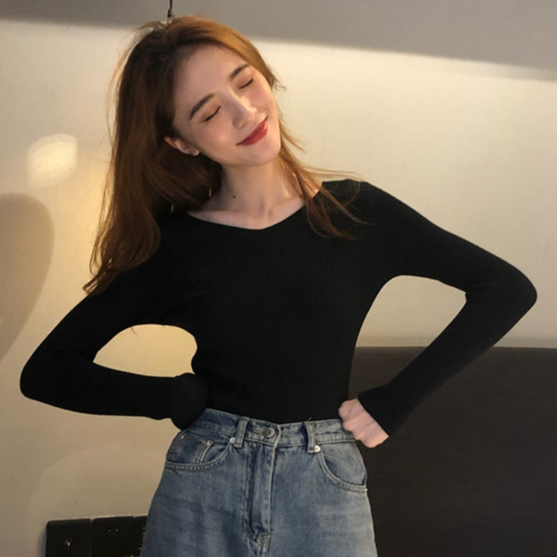 2020 Autumn winter New Knitted Sweater Korean V neck solid color Slim long sleeves sweater Women sweet  Warm bottoming shirt