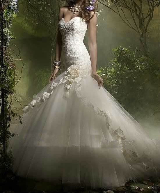 Free Shipping Mermaid Style Tulle Romantic Spanish Lace Wedding Dresses Hot XCSD