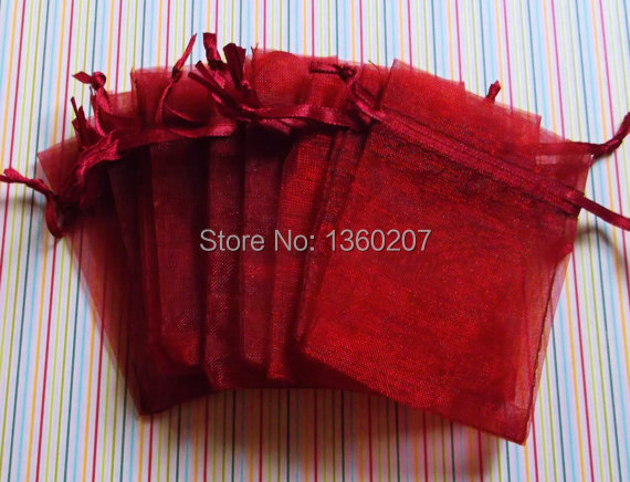 100pcs/lot wine colour Organza Bags 10x15 Wedding Favour Gift bag Jewellery pouches
