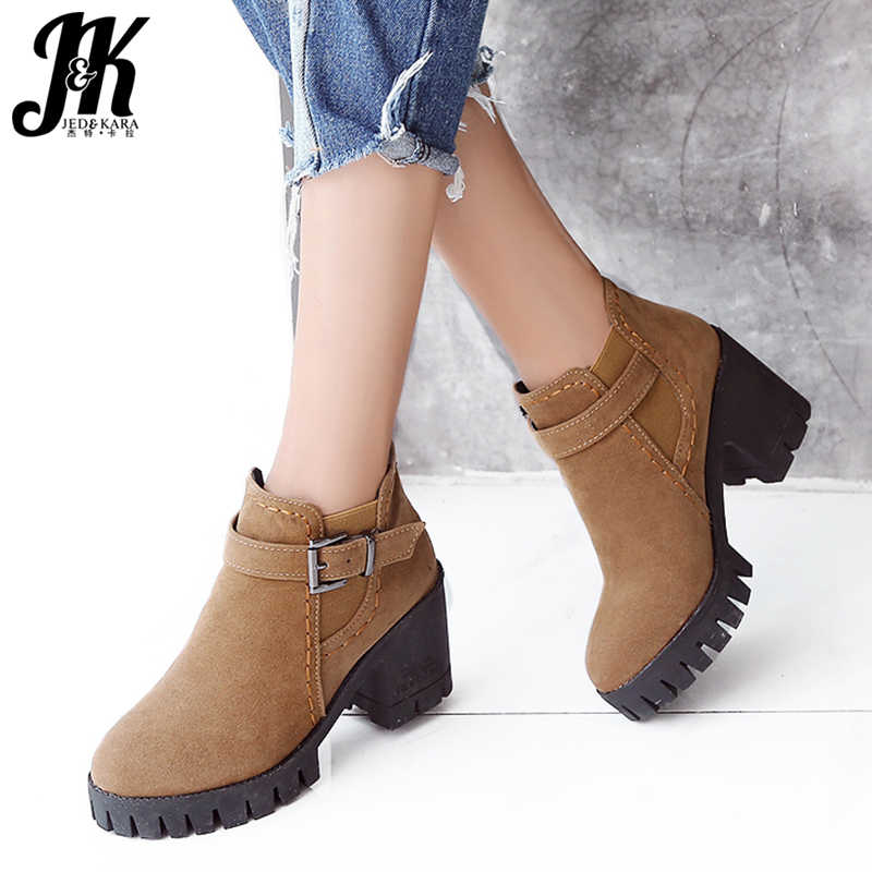 JK Flock Winter Boots Women Round Toe Footwear Platform Female Boot Casual Girl High Heel Shoes Ankle Boots For Women
