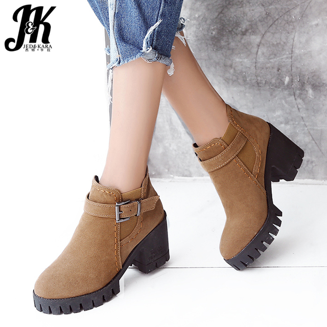 JK Flock Women Ankle Boots Elastic Round Toe Footwear Platform Female Boot Casual Girl High Heels Shoes Woman 2019 Winter New