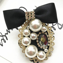 Korea Handmade Rhinestone Imitation Pearl Vintage Bowknot Badge Brooch Pin Fashion Jewelry For Girl Woman Accessories