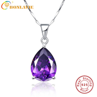 JQueen 925 Sterling Silver Jewelry Wholesale Pearl Cut Waterdrop Amethyst Pendant Necklace With 925 Silver Chain