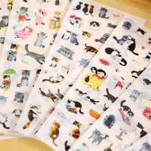 6 Pcs / Pack Free Shipping New South Korea Transparent Pvc Stickers Cute Cat Diary Photo Album Stickers