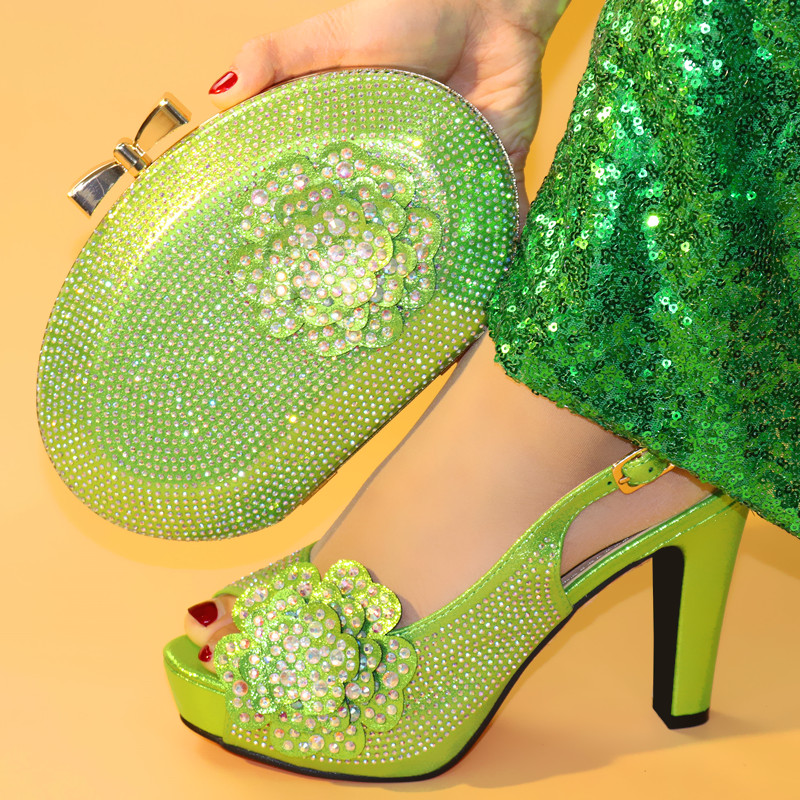 2019 Nigerian Lemon green Woman Shoes And Bags Set African Summer Spike Heels Shoes And Bag Set For Party Dress 6Colors Stock2019 Nigerian Lemon green Woman Shoes And Bags Set African Summer Spike Heels Shoes And Bag Set For Party Dress 6Colors Stock