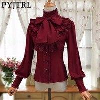 PYJTRL Vintage LOLITA Wine Red Black Blue White Long Sleeve Chiffon Shirt Women Stand Collar Elegant