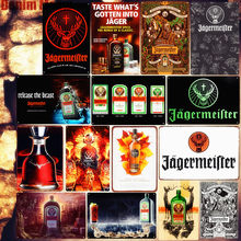 Jagermeister Shabby Chic Metal Poster Pub Bar Decoration Deer Head Wall Sticker Liqueur Metal Wall Art Tin Sign Home Decor MN107(China)
