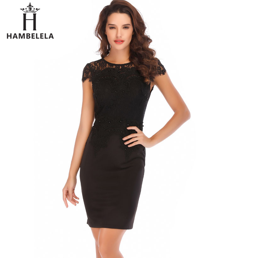 e98fc77bb ... HAMBELELA Office Lady Vintage Lace Dress Women 2018 Retro Tunic Slim  Work Business Casual Dress Sexy ...