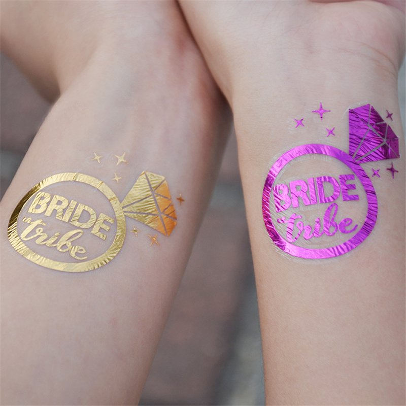 Wedding Decoration Purple/Gold Team Bride Temporary Tattoo Sticker Bachelorette Party Bride To Be Bridal Shower Party Supplies,Q