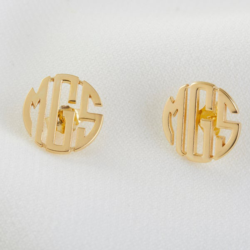 Monogram Stud Earrings for Her Personalized Monogram Earrings Custom Name Stud Earrings Minimalist Earrings Custom Earrings