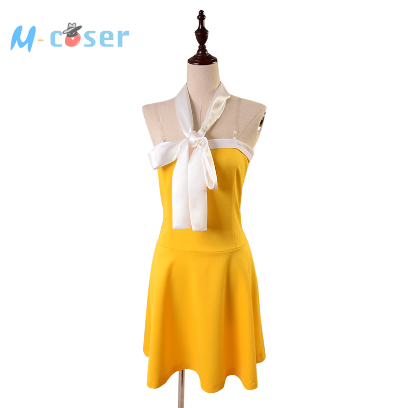 Anime Fairy Tail Cosplay Costume Levy Mcgarden Yellow Dress