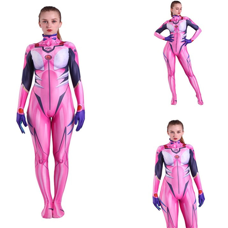 Adult Kids Female Asuka Langley Soryu Costume Zentai Superhero Bodysuit Suit Jumpsuits Tight Cosplay Halloween
