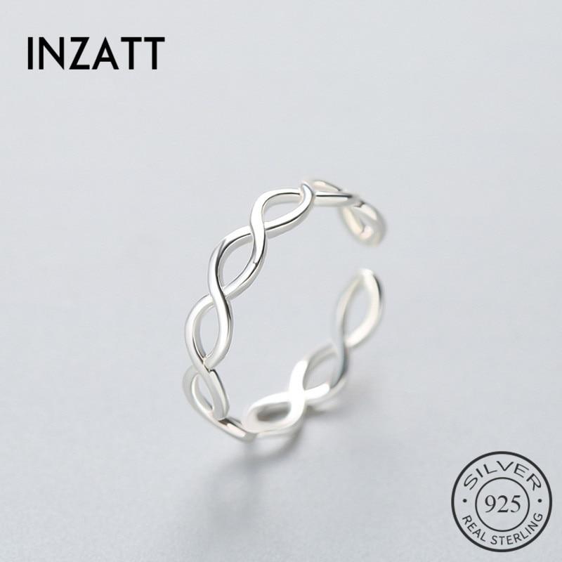 INZATT Geometric Two Line Minimalist Ring 925 Sterling Silver For Women Birthday Party Fashion Jewelry New 2018 Gift