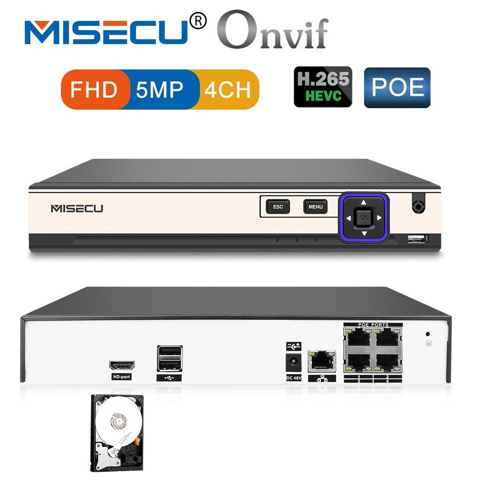 MISECU 48 В POE H.265/H.264 4 канала NVR 4*5 м/4*4 м Hi3798M p2P 4 К RS485 IEE802.3af CCTV NVR ONVIF POE для H.265 H.264 POE Камера