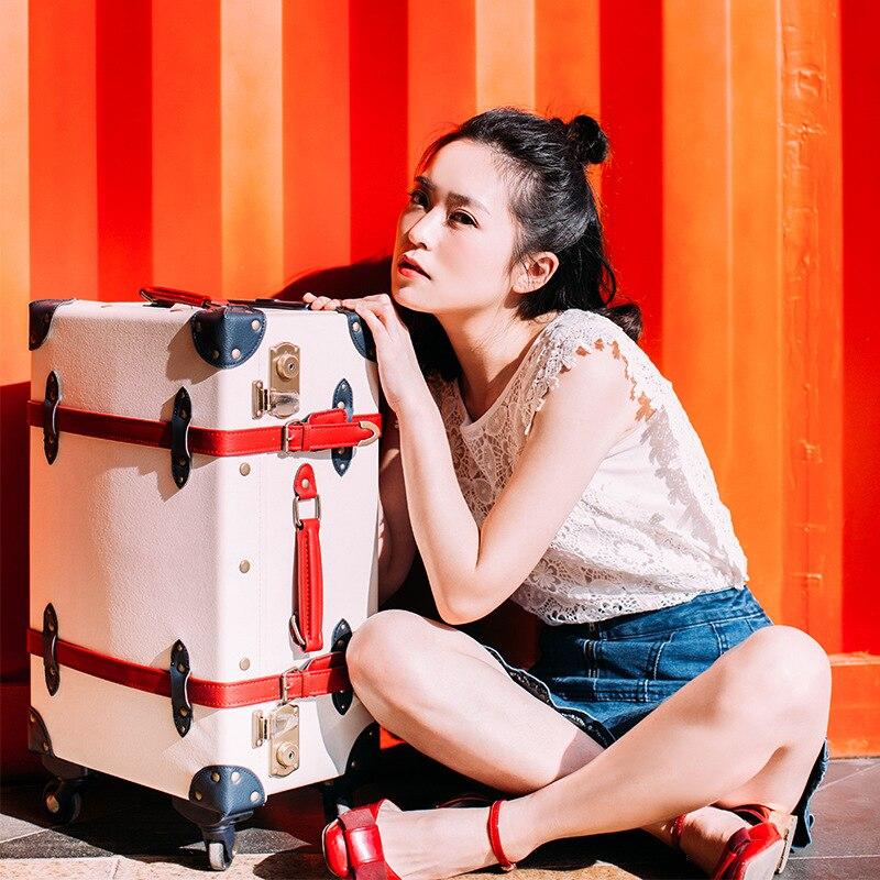 Bagaj ve Çantalar'ten Bavullar'de LeTrend Retro Haddeleme Bagaj Spinner Yüksek kapasiteli Bavul Tekerlekleri 20 inç Öğrenciler Taşıma Arabası su geçirmez Seyahat Çantası'da  Grup 1