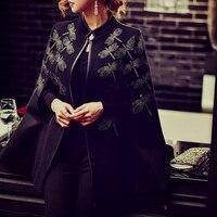 Dabuwawa Винтаж черный вышивка пальто довольно плащ Autum WinterWool и смеси улица пиджаки