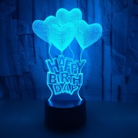 Happy Birthday Gift 7 Colors Change Touch Remote Control LED Night Lamp Acrylic Panel 3D Illusion Love Heart Table Light Gifts