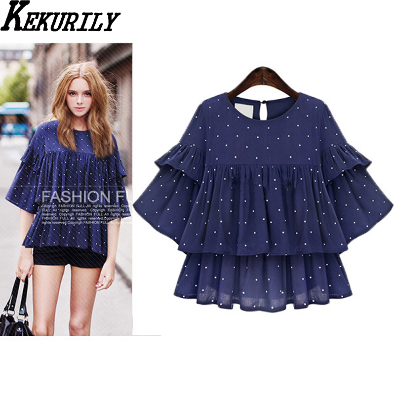 Chiffon ruffles butterfly sleeve blouse female summer new fashion plus size 3xl 4xl 5xl shirt polka dot navy blue big clothes