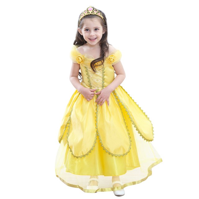 a7e54daa60e Pearl Diary Belle Princess Tutu Dress Baby Kids Fancy Party Christmas  Halloween Costumes Beauty Beast Cosplay Flowers Ball Gown