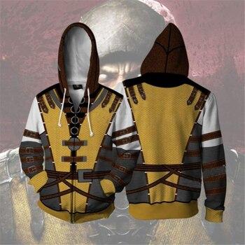 New Game Mortal Kombat 11 Cosplay Costumes Scorpion Cotton Sweatshirt Hoodies Jackets Coat Hooded Sweater Sportswear Top 1