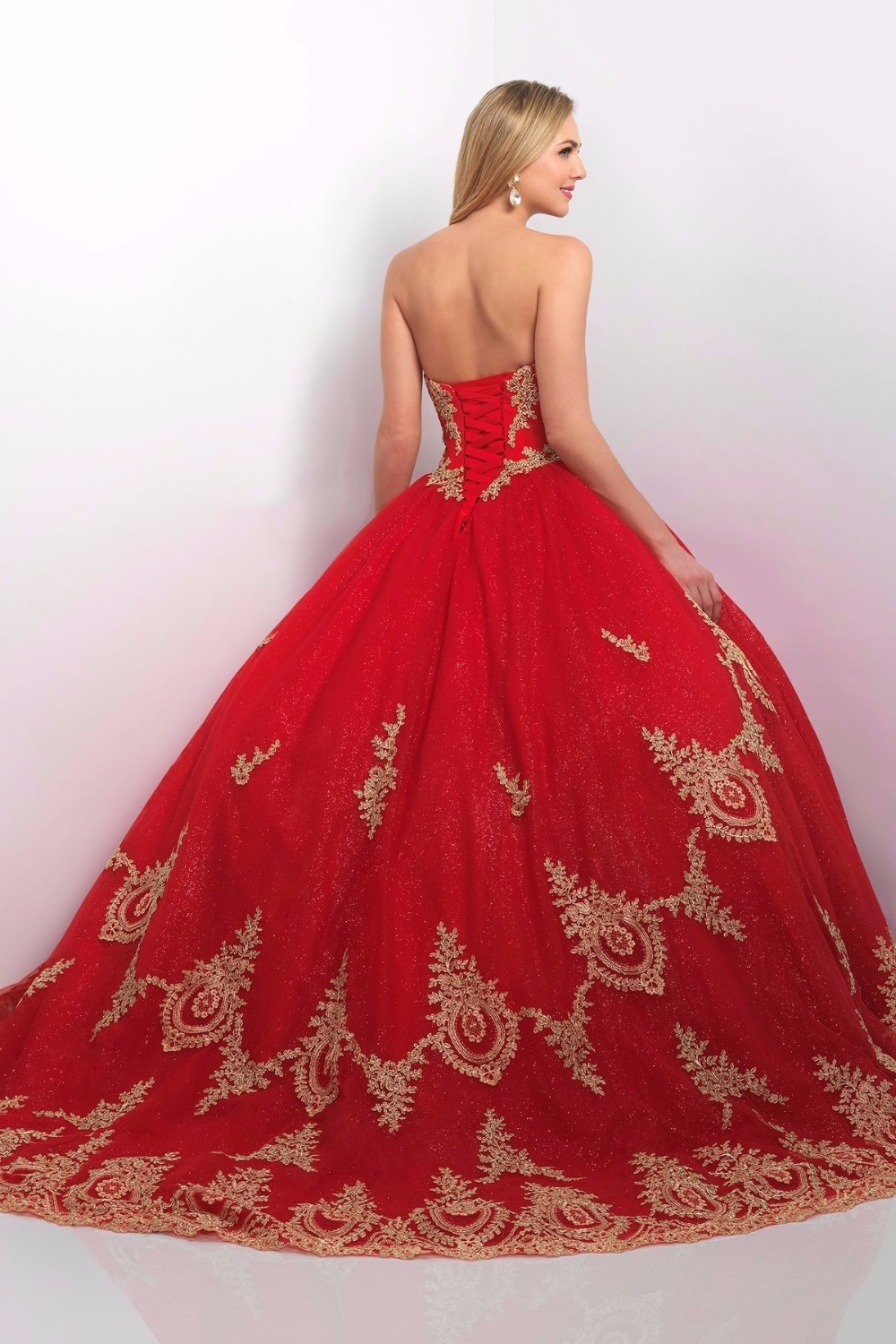 Fashion week Red and quinceanera gold dresses for girls