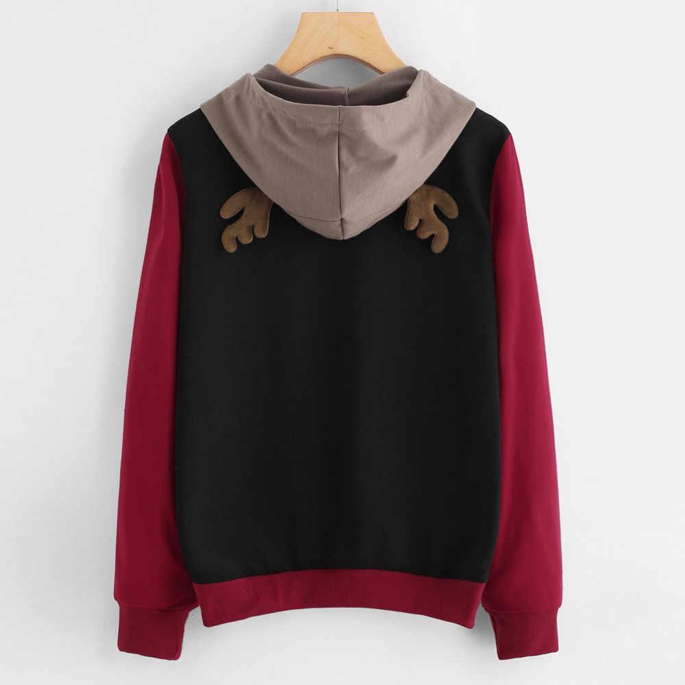 Elk Cetak Sweatshirt Wanita Musim Gugur Musim Dingin Natal Rusa Telinga Kawaii Berkerudung Santai Lengan Panjang Pullover Pulover Zhenskiy # T35