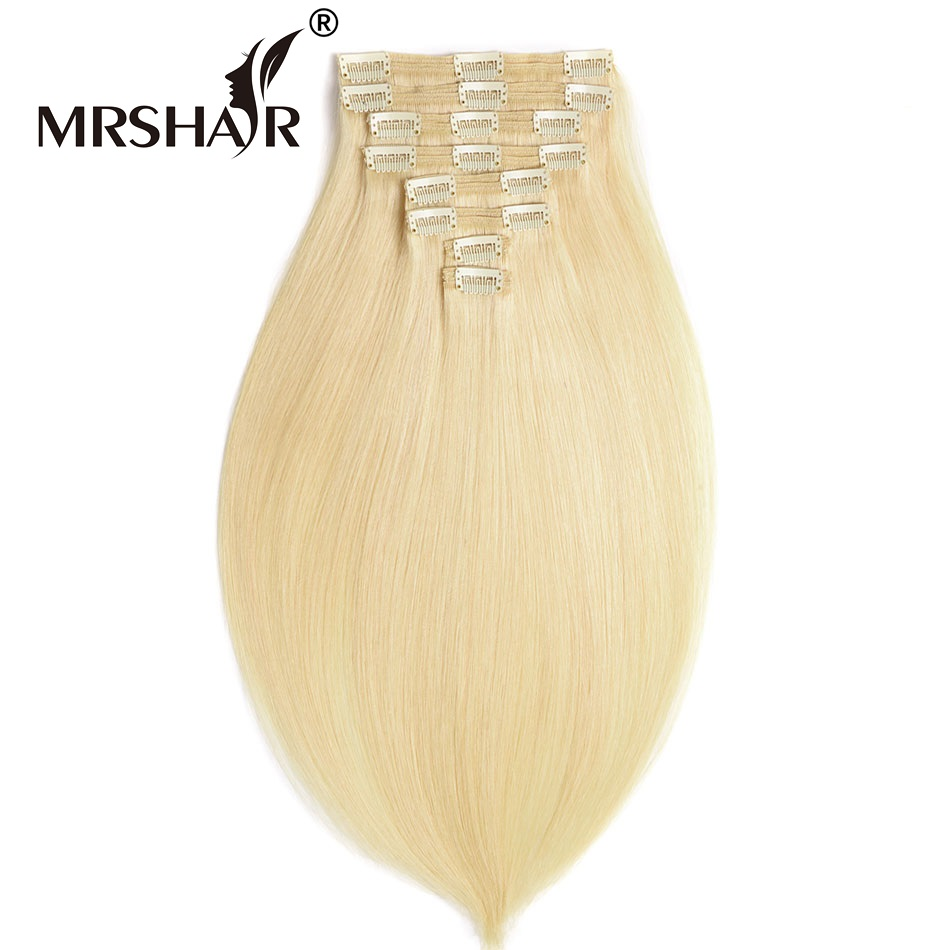 MRSHAIR 18 20 22 Non Remy Thick Clip In Human Hair Extensions 8pcs Set Brazilian Real