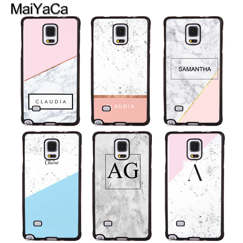 MaiYaCa PERSONALISED MARBLE NAME INITIALS LETTER Phone Cases OEM For Samsung Galaxy S6 S7 edge plus S8 S9 plus Note 4 5 8 Cover