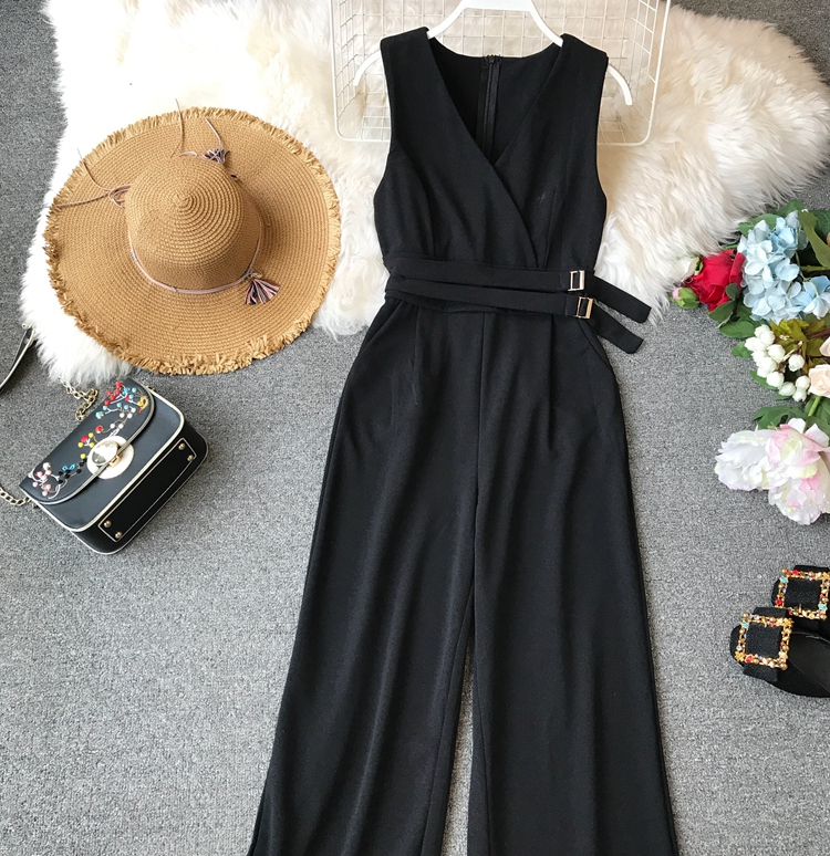 ALPHALMODA 2019 Spring Ladies Sleeveless Solid Jumpsuits V-neck High Waist Sashes Women Casual Wide Leg Rompers 14