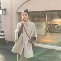 Шерстяной плащ пальто 80% накидки пальто для женщин длинная теплая верхняя одежда 2018 осень зима новый элитный Бренд Англия стиль бежевый вер