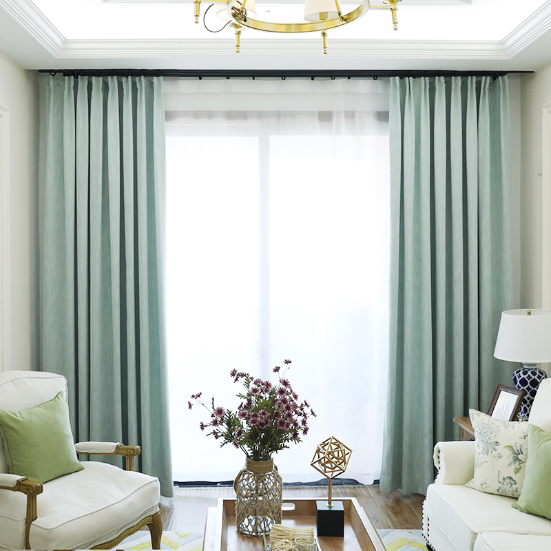 American Solid Color Thick Faux Linen Blackout Curtains for Living ...