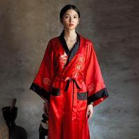 Novelty Reversible Black Red Women Satin Kimono Handmade Embroidery Dragon Nightgown Robe Gown Two Side Sleepwear