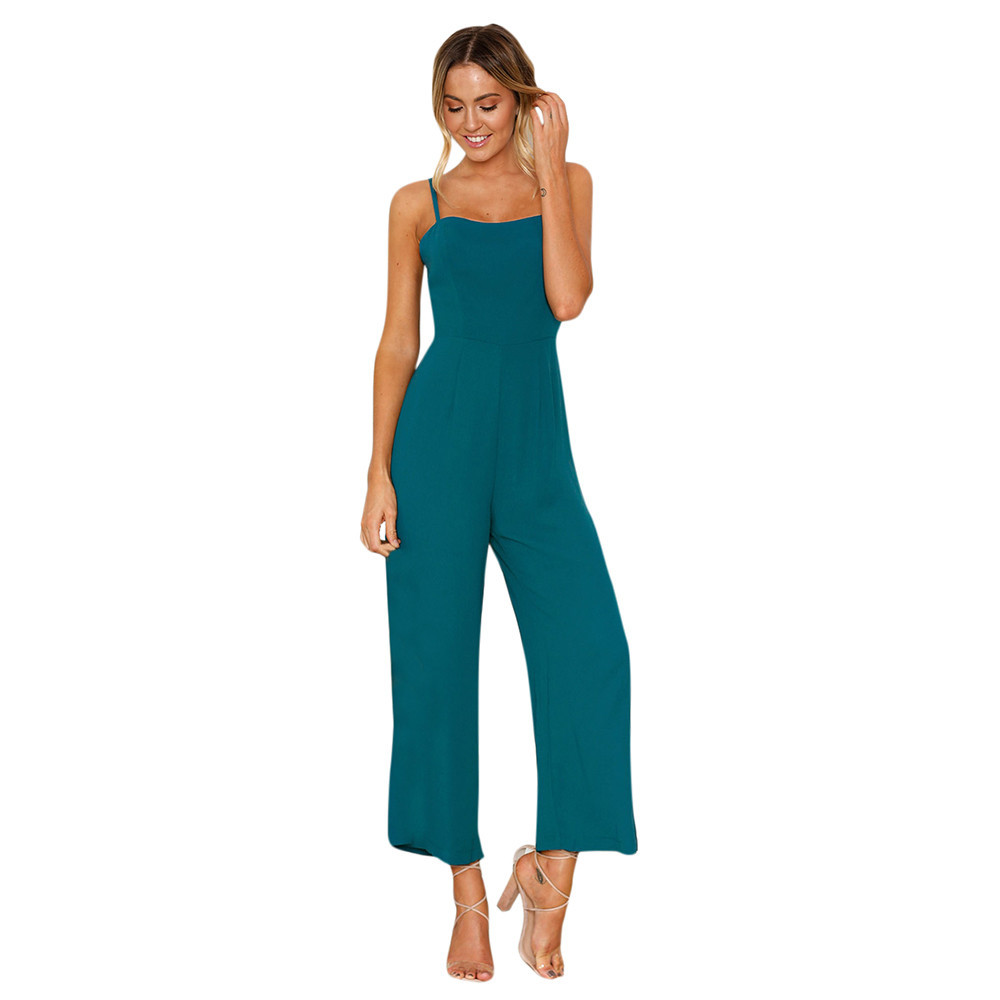 female playsuits Straps Zipper Ladies Long Beach Jumpsuit in Green HIgh Quality New Fashion 2018 body dentelle