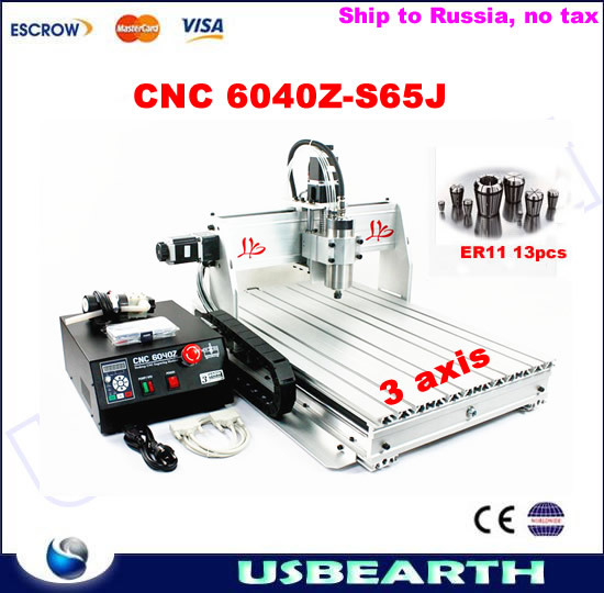 3 axis cnc router 6040 800w spindle metal cutting machine with free ER11 collets, no tax to Russia 4 axis cnc router 3040z s 800w cnc spindle cnc milling machine with dsp0501 controller free ship to russia no tax