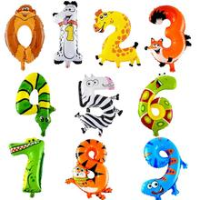 20pcs/lot 0-9 Number Animals Foil Balloons Kid Toys Birthday Party Wedding Decor Air Baloons Event Party Supplies 30 40 inch rose gold silver foil number balloons birthday party decor air helium number globos kid baloons birthday balon