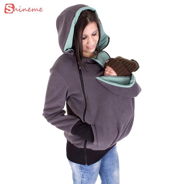 e88ce0a0b El embarazo ropa de lana bebé maternidad mujeres abrigo Sudadera con  capucha Bebé Canguro abrigo para