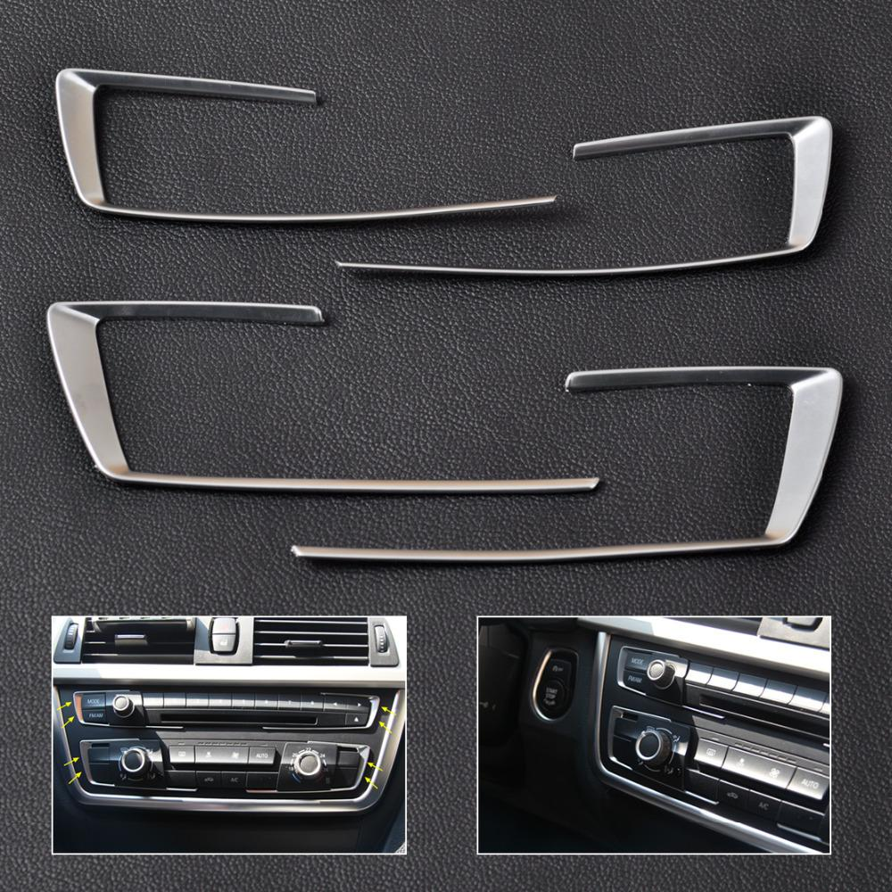 CITALL 4pcs Matt Chrome Front Dashboard Center Console Cover Trim for BMW 3 4 Series F30 <font><b>F31</b></font> F32 F34 F36 316 318 320 2014 2015 image