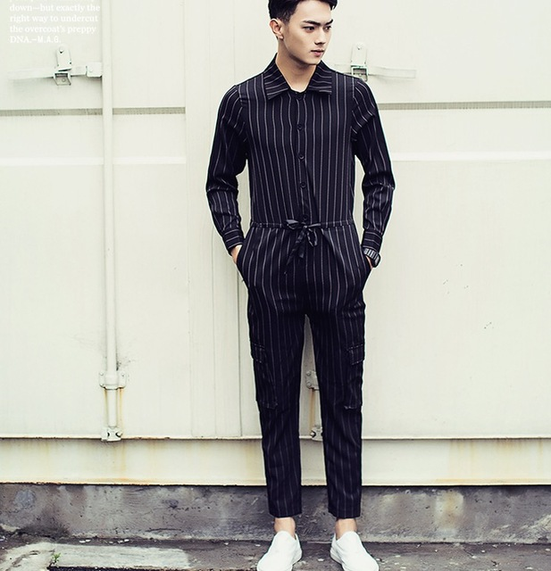 ebe6697cba30 Mens Jumpsuit Black And White Striped Dress Pants 2016 Brand New Designer  Korean Fashion Overalls Casual