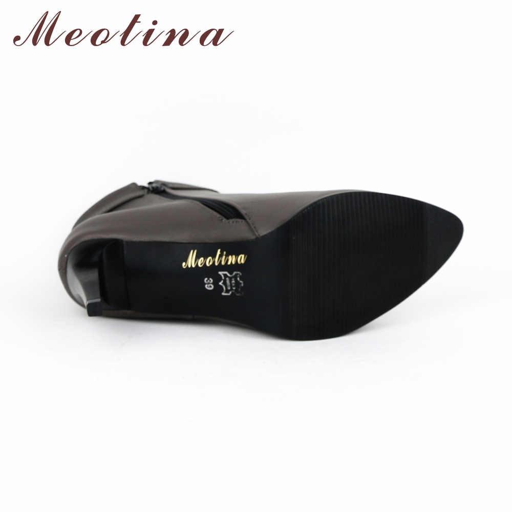 Женские ботильоны Meotina, серые демисезонные полусапоги на высоком каблуке, с заостренным носком, большие размеры до 43-го