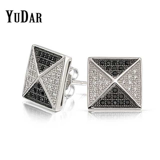 Yudar New Fashion Men S Square Pyramid Earring Micro Pave Black