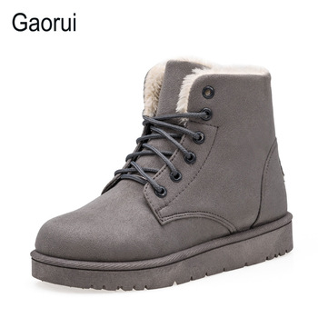 Gaorui New Brand Women Lace-up Snow Boots Winter Solid Warm Flock Martin Boots For Women Push Ankle Boots Plus Size Flat Thick