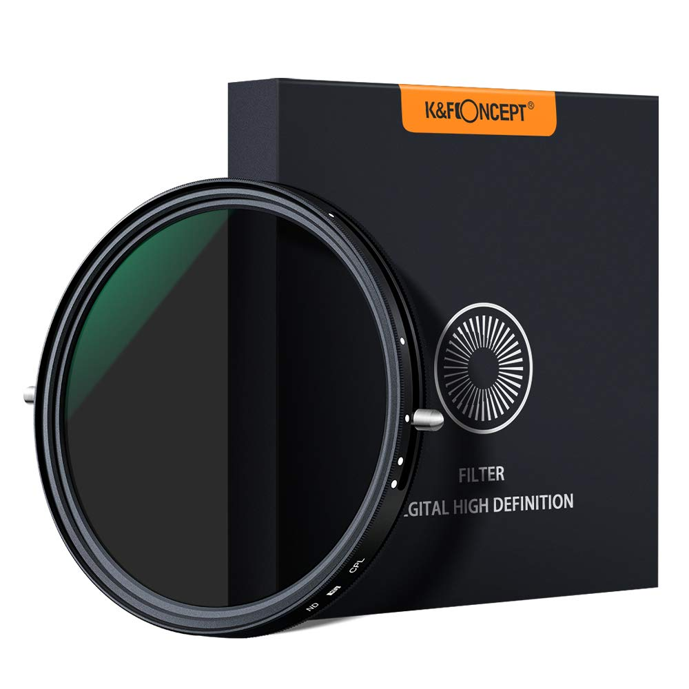 K&F Concept 67mm 77mm 82mm Variable Fader ND2 ND32 ND Filter and CPL Circular Polarizing Filter 2 in 1 for Camera Lens No X Spot