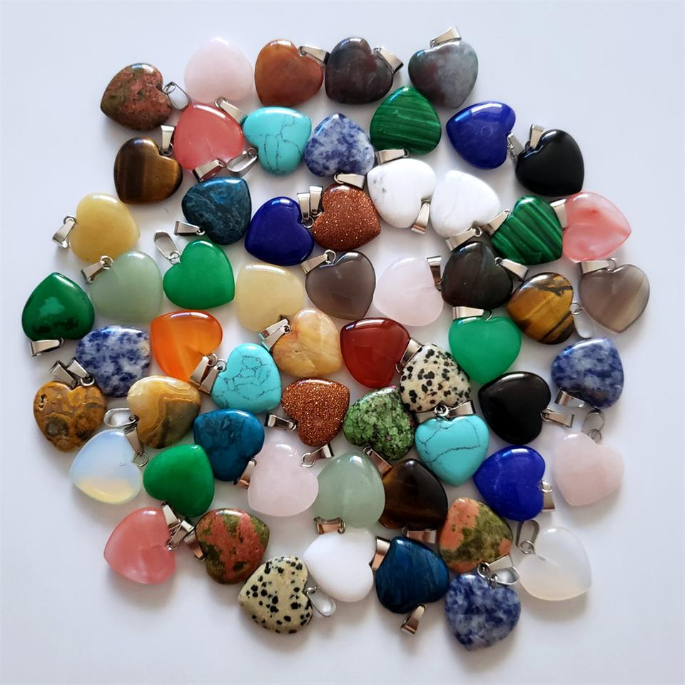 Wholesale 50pcs/lot Good Quality Assorted Heart Natural Stone Charms Pendants For Jewelry Making 20mm Fashion Gift Free Shipping