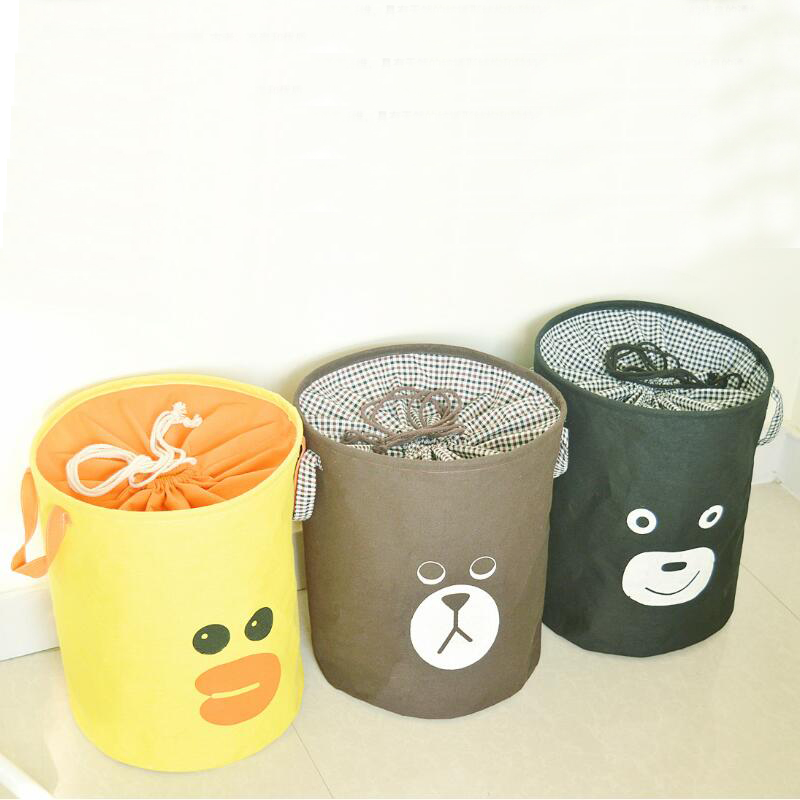 1set/4pcs Cartoon Bear Duckling Laundry Hamper Clothes Storage Basket Home Decoration Makeup Storage Box Kids Toy Laundry Bags