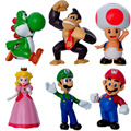 6 PCS Fashion Trendy Cartoon Super Mario Handmade Dolls For Children Gifts 6CM Model Mario Christmas Delicate Plastic Decoration